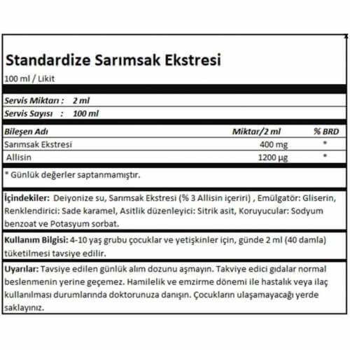 Standardize Sarımsak Extresi