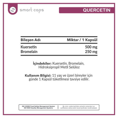 SMARTCAPS Quercetin 500 mg 30 Kapsül